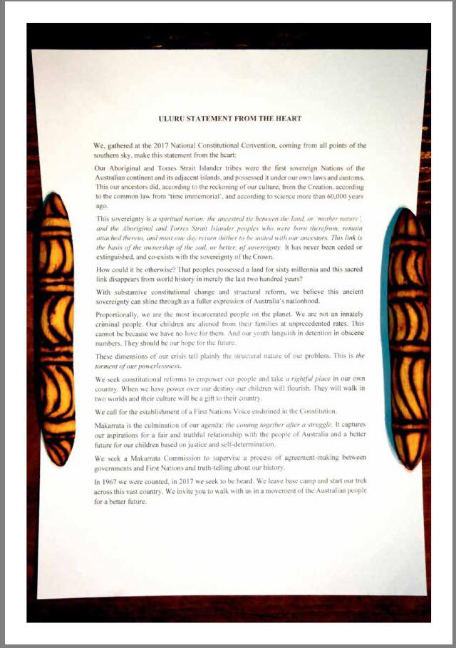 Uluru Statement from the Heart - document as in the Referendum Councils final report