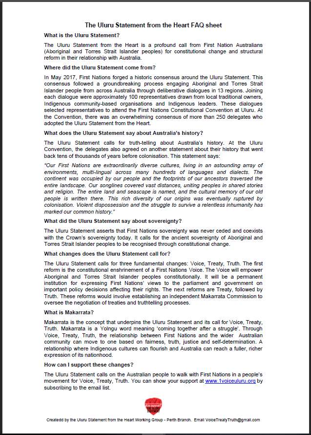 Uluru Statement from the Heart frequently asked questions (FAQ) sheet - PDF